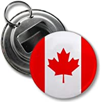 CANADA World Flag 2.25 inch Button Style Bottle Opener with Key Ring by Creative Clam