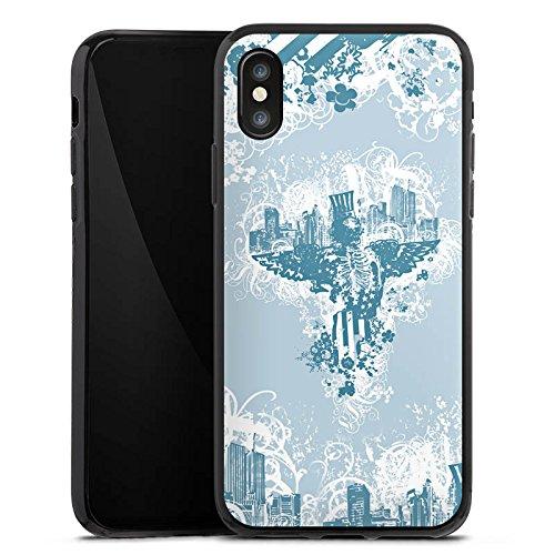 Apple iPhone X Silikon Hülle Case Schutzhülle Stadt Freiheit Ornamente Silikon Case schwarz