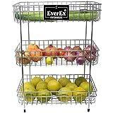 EverEx™ Stainless Steel 3-Tier Fruits & Vegetable Trolley/Basket Holder Stand for Kitchen (Multipurpose Spice Kitchen Storage Shelf Rack)