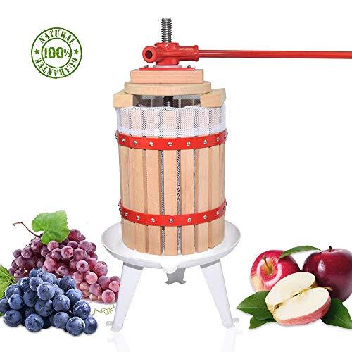 Obstpresse Apfelpresse Fruchtpresse der mit Hölzernem Korb für Selbst Gemachten Natürlichen Saft, Traube, Beere, Apfel, Fruchtpresse Weinpresse inklusive Kostenlos Pressnetz (12L)