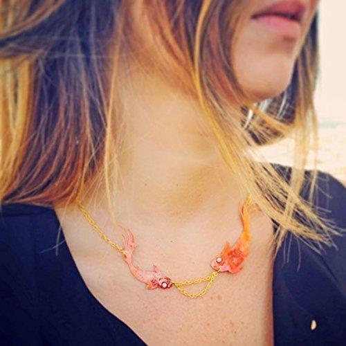 Rote Zenfische Halskette - Helle Augen schillernde Hologramm Wirkung Fisch Halskette - Schmuck mit...