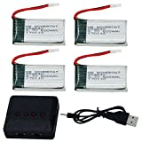 HB HOMEBOAT® Syma X5 X5C X5C-1 X5SC X5SW Parts 3.7V 600mAh 20C Lipo Battery(4PCS) with 4 In 1 X4 Battery Charger (NOT COMPAITBLE WITH Recon Observation Drone)
