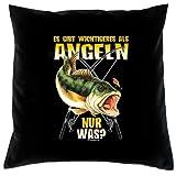 Lustiger Kissenbezug für Hobby Angler: Es gibt wichtigeres als Angeln - nur was? -- Kissen mit Füllung--- Fb:schwarz