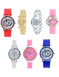 Codice Analogue Blue, Pink, White, Red, Gold, Silver Dial Girl's Combo Of 7 Watch -Codice-Girl-Watch-New-Style-Low-Price