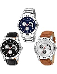 LEVERET Quartz Movement Analogue Display Multicoloured Dial Men's Watch Combo Pack of 3