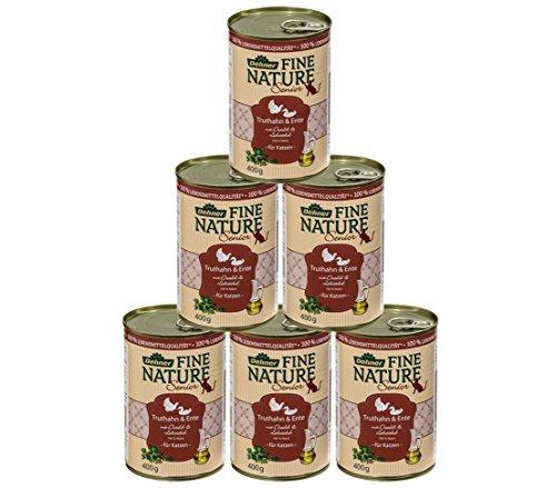 Dehner Fine Nature Katzenfutter Senior, Lebensmittelqualität, Truthahn und Ente, 6 x 400 g (2400 g)