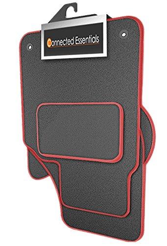 Preisvergleich Produktbild Connected Essentials individuell angepasste strapazierfähige Automatten fürKia Sportage (MK 3) 2010 - 2016 - grau mit rotem Rand,4-teiliges Set