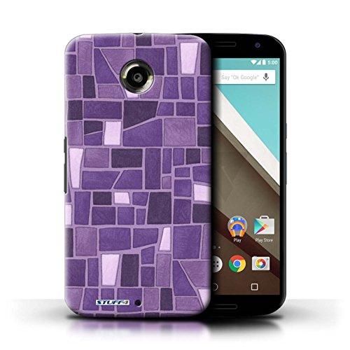 Kobalt® Imprimé Etui / Coque pour Motorola Nexus 6 / Vert/Brun conception / Série Carrelage Mosaïque Pourpre/Blanc