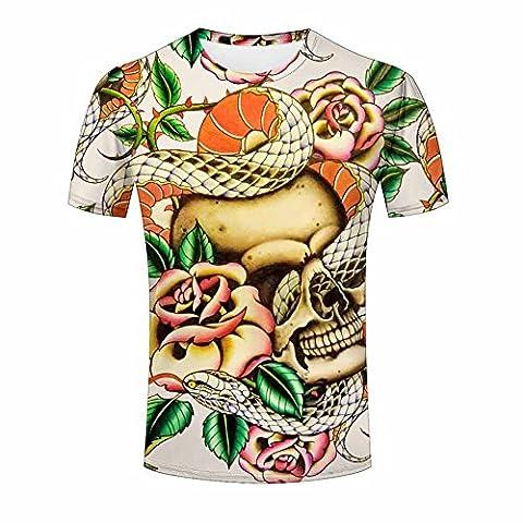 Skull, Snakes and Flowers Tattoo Design Men's T Shirt L