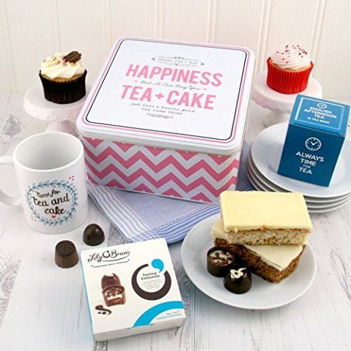 Tea Gift Hamper for Her - Happiness Is Tea and Cake Gift Ideal Gift for Tea Lover With Bespoke Gift Mug and Alice Scott Tin - Biscuits Tin Gift