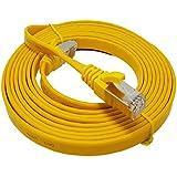 7,5m–Soporte de–Cat. 7–Cable de red Ethernet Gigabit LAN (RJ45)   10/100/1000Mbit/s–para la transmisión de TV   suhd   IPTV   ordenador de sobremesa   servidores   portátiles   Red impresoras   sin halógenos/10Gbs–Alta calidad–Compatible con CAT. 5/CAT. 5e/CAT. 6  Conmutador/router/módem/panel de conexiones/punto de acceso/campos de conexión   amarillo