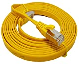 Flachkabel, 1,0m,Cat.7, Ethernet-/Gigabit-/LAN-Netzwerkkabel RJ45, 10/100/1000Mbit/s, für Streaming, SUHD-TV, IPTV, Desktop-Computer, Server, Laptops, Netzwerk-Drucker, halogenfrei, 10Gbit/s, hochwertig, kompatibel mit Cat.5/Cat.5e/Cat.6, Switch/Router/Modem/Patchpanel/Zugangspunkt/Patchfelder, Gelb