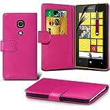 (Hot Pink) Nokia Lumia 520 / 525 Schützende Faux Credit / Debit Card Leder Book Style Tasche Skin Case Hülle Cover, Aus- und einfahrbarem Touch Screen Stylus Pen & LCD Screen Protector Guard von Spyrox