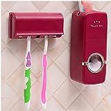 Pigri automaticamente il dentifricio, adesivo staffa per il montaggio a parete del kit spazzola, rosso