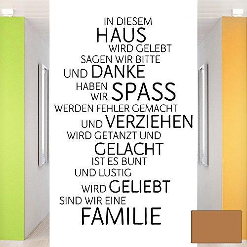 Grandora W991 Wandtattoo Familie Haus Lachen Liebe I kupfer 58 x 87 cm I Spruch Flur Diele Zitat Aufkleber Wandaufkleber Wandsticker