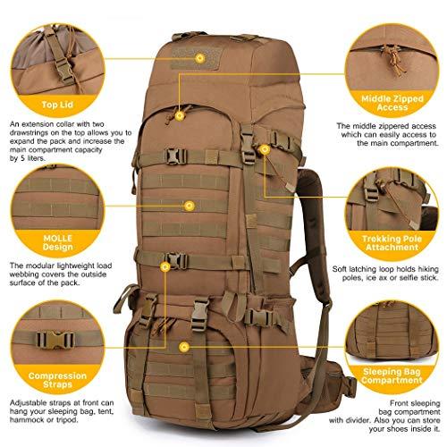 c91cae1cc0 Mountaintop 65L Zaino Militare / Tattico Molle / Campeggio / Zaino di  Assalto / Escursionismo / Sport / Patrol Camping. Visualizza le immagini