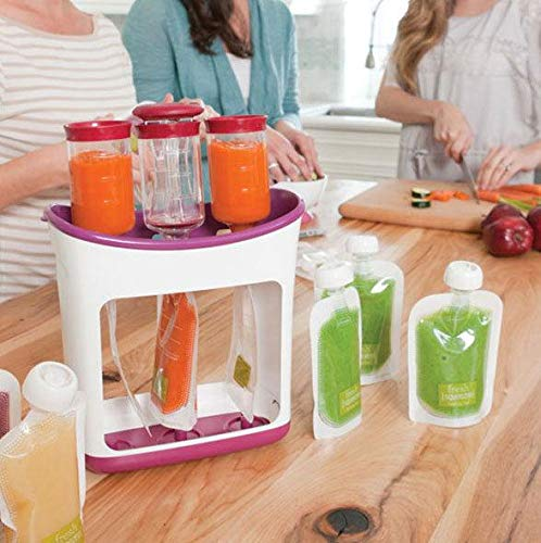 Mold Your Memories Squeeze Station Baby Food Maker and Pouch for Storing Homemade Vegetable Puree, Fruits, Soups, Smoothie, Pulp