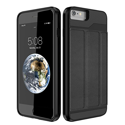 Yokata Coque iPhone 6S, iPhone 6 (4.7 inch) Etui Housse Silicone Souple avec Fente Carte Back Cover Etui iPhone 6S / 6 Wallet Case de Carte Slot avec Fonction Stand Portefeuille Antichoc Housse de Pro Black