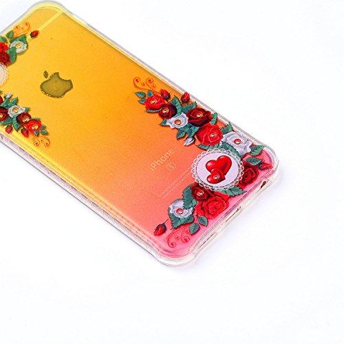 Cover iphone 6 6S,Custodia iphone 6 6S,Cozy Hut® Crystal Clear TPU con Cristallo di lusso di Bling di scintillio lucido diamante scintilla Custodia Cover per iphone 6 6S Custodia Cover [Crystal TPU] [ Rosso rosa