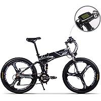 Jimai Rt-860 Mans Vélo électrique pliable, hybride de montagne VTT Vélo double Suspension, 250 W 36 V 21 vitesses, avec pied Vélo Pompe à air, d'un ensemble d'outils, une pièce Outil de montage et Smart Compteur de vitesse Compteur de vélo