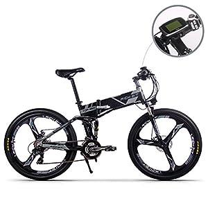 Jimai Rt-860 Mans Vélo électrique pliable, hybride de montagne VTT Vélo double Suspension, 250 W 36 V 21 vitesses, avec pied Vélo Pompe à air, d'un ensemble d'outils, une pièce Outil de montage