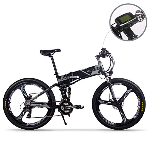 51bBDGeNqqL. SS500  - RICH BIT Electric Bicycle 250W 36V 12.8Ah Lithium Battery Folding E-bike LCD Display Smart Mountain Bike Gray