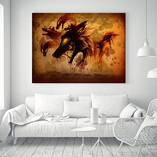 FidgetGear Abstrakte Wolf Anime Silk Leinwand Poster Kunst Stoff Malerei Wand Dekor Geschenk A66 S: 24 x 16 Zoll -