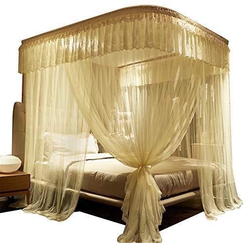 Mückennetz Princess im Stil Mückennetz Verschlüsselt gepolsterte Mücke net Moskito-sichere Insektennetze Sommerbetten, Beige, 220 * 180cm