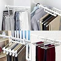 Voiks Pants Hangers Space Saving - 5 layers Stainless Steel Multi Trouser Hangers Rack for Pants Slack Jeans Towel Scarf Ties Belts Clothes Storage (1 Pcs)