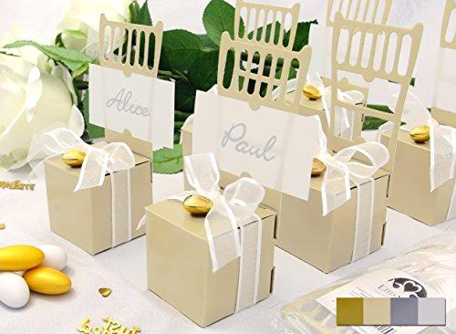 Preisvergleich Produktbild 12x Kartonagen EinsSein® Gastgeschenke Hochzeit Tischkartenhalter Stuhl creme mit Namenskärtchen Hochzeitsmandeln Bonboniere Kartonage Geschenkboxen Geschenkbox Taufe Taufmandeln Tischkarten