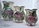 Set Brocche Linea Uva Realizzata e Dipinta a mano Le Ceramiche del Castello Nina Palomba Pezzo Unico 3 Dimensioni