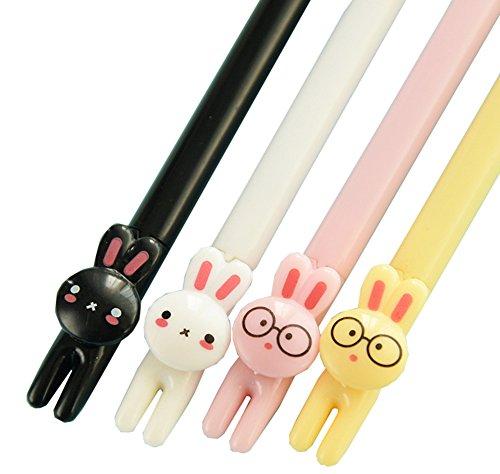 brosuper-lot-de-4-stylos-roller-a-encre-gel-noir-avec-tetes-danimaux-mignons-lapins