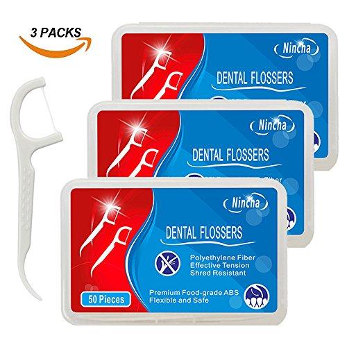 Nincha Zahnseide Sticks Premium Polyester-Faser Floss, 3 Boxen, 150 Zahnseide Sticks