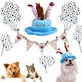 Legendog Party Banner Set para Mascotas Birthday Party Dog Footprints Burlap Banner con Globos y Sombrero para Perros