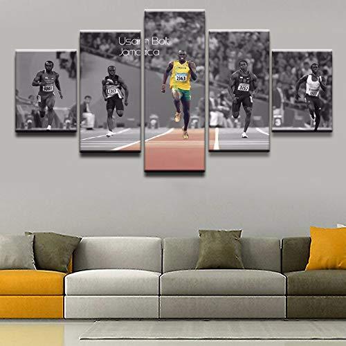 lsweia Moderne Leinwand Hause Dekorative Sport Poster Malerei Wandkunst Bilder 5 Stücke Sprint Usain Bolt Abbildung Wohnzimmer HD Print