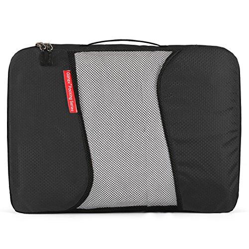 Gonex Kleidertaschen Verpackungswürfel Kofferorganizer Gepäck verschiedenes Set (L+2S+R+Beutel)Schwarz