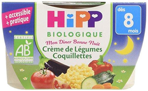 hipp-biologique-mon-dner-bonne-nuit-crme-de-lgumes-coquillettes-ds-8-mois-8-bols-de-190-g