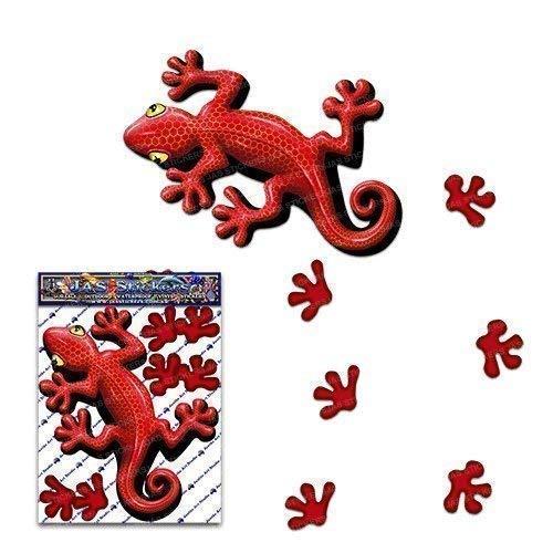 Gecko rouge petit autocollant de lézard Drôle animal de voiture pour les camions de caravanes - ST00031RD_SML - Stickers JAS