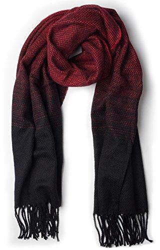 NavyBlu® großer Tuch Schal Schaltuch Farbverlauf kompliziertes Designmuster rot-schwarz A76-5
