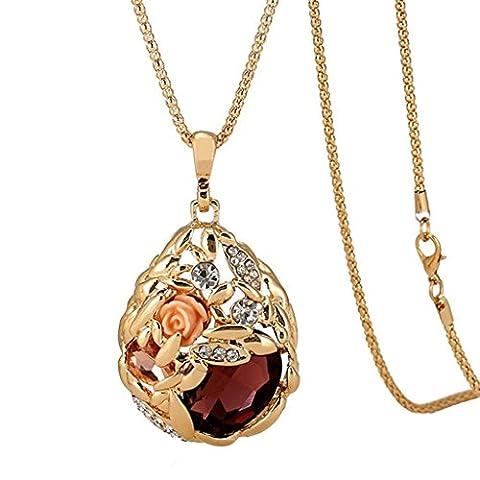 Gnzoe Jewellery Les Femmes Collier Acier Inoxydable Drops Fleur Pourme Pendant Champagne Purple 80Cm Avec Zircone Cubique
