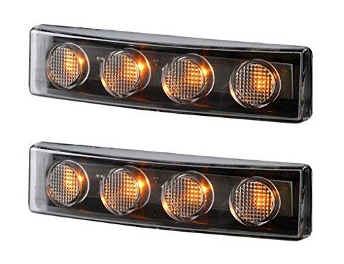 2 x 4 LED Orange Begrenzungsleuchte Seitenleuchte 12V 24V mit E-Prüfzeichen Positionsleuchte Lampe Leuchte Gelb Set passt Scania 4 serie, G, P, R, T