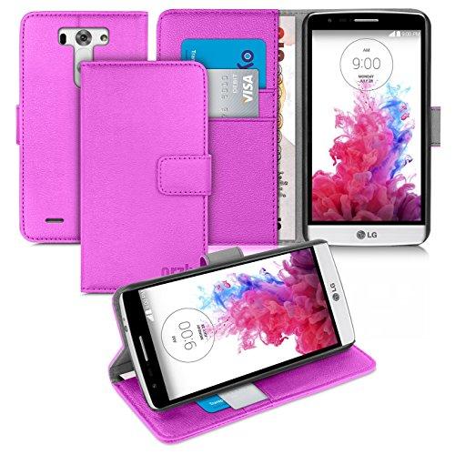 Orzly® - LG G3-S (G3 MINI) - Multi-Function Wallet Stand Case - SCHUTZHÜLLE mit integrierte BRIEFTASCHE + STAND - Flip Stil Fall / Tasche / Handytasche in LILA mit Magnetischen Deckel - Hülle Entwurf exklusiv für Google / LG G3 S SmartPhone / Handy (ALIAS: LG G3 MINI / G3-2 / etc.) - 2014
