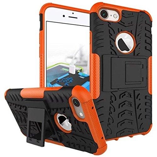 """iphone 7 Coque - MYTHOLLOGY avec Béquille Housse Double Couche Antichocs Protection Arrière Etui Coque pour iphone 7 (4.7"""") Noir orange"""