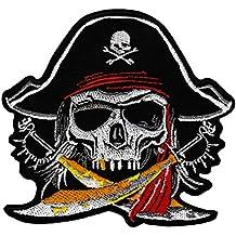 Pirat Totenkopf 7 x 7.4 cm weiß Patches Aufbügeln Aufnäher // Bügelbild
