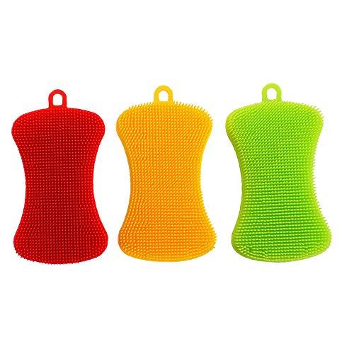 Silikon Schwamm Küche Küchenschwamm - Samtlan Haushalts Teller Reinigungs Schwamm Wäscher, Magischer Intelligenter Schruppen Schwamm für Teller Obst Gemüse, 3 Stück (Grün, Rot, Gelb) -