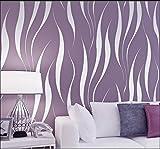 HANMERO® Murales de pared Papel pintado rayas extra grueso, no tejido, papel de pared dormitorios/salón/hotel/fondo de TV/color morado,0.53M*10M