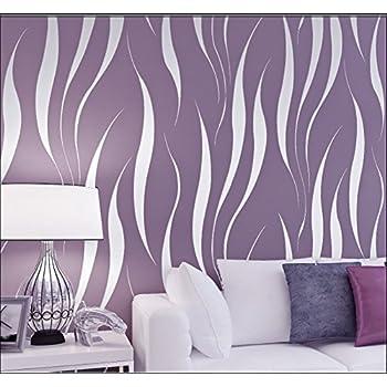 Hanmero papier peint moderne intiss motif avec rayures 3d - Wandtapeten lila ...