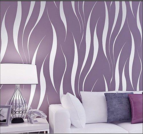 Hochwertig HANMERO Mustertapete Simpel Modern Vliestapete Relief 0,53m*10m 7 Farben für Schlafzimmer, Wohnzimmer Wallpaper (lila)