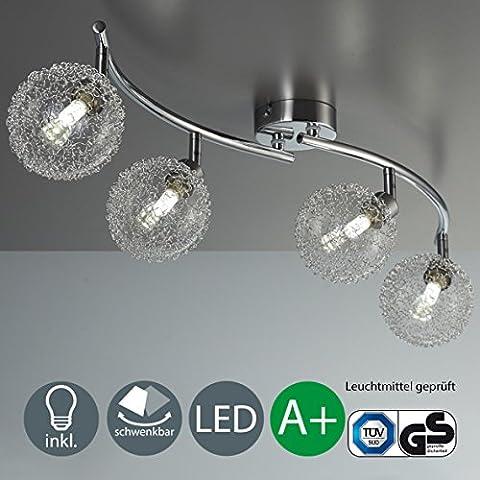 LED Deckenleuchte Schwenkbar Inkl. 4 x 3,5W Leuchtmittel G9 Mit Modernen Glaskugeln IP20 Deckenlampe Wohnzimmerleuchte Kinderzimmer 230V Warmweiss Metall-Glas Chrom EEK A++ 4 X 320lm 4