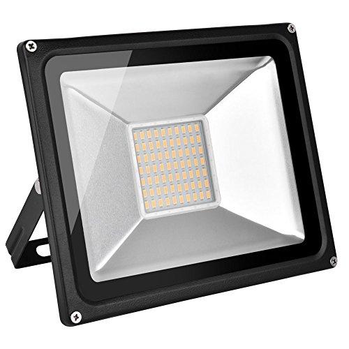 Yuanline Projecteur LED 50W, 5000 Lumens, IP65 étanche, Lumières de sécurité super brillantes extérieures, 6000K Lumière du jour blanc/blanc chaud, Lumières murales de paysage de Floodlight, Muti watts … (Blanc chaud, 50W)